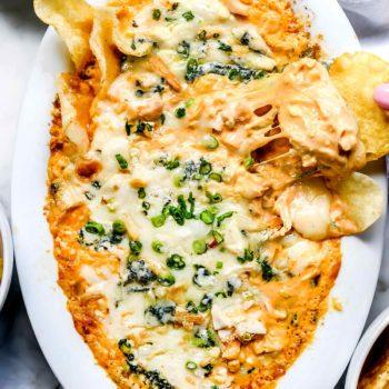 Easy Buffalo Chicken Dip | foodiecrush.com #easy #oven #chicken #buffalo #dip #recipe #cheese