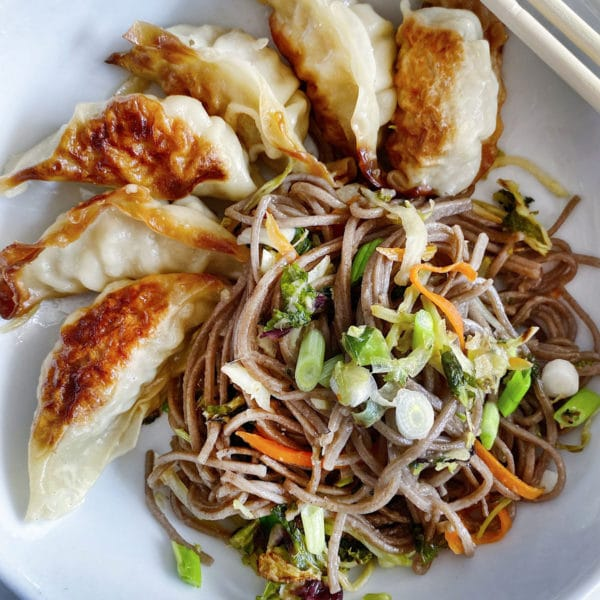 Soba Noodles with Potstickers foodiecrush.com