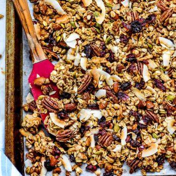 Easy Healthy Granola Recipe | foodiecrush.com #granola #homemade #healthy #chunky #recipe #breakfast