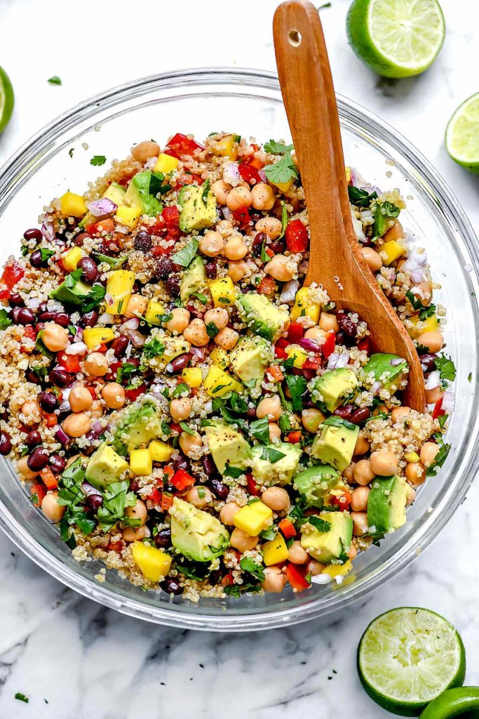 HEALTHY QUINOA SALAD with BLACK BEANS | foodiecrush.com #quinoa #salad #healthy #recipes #mango #blackbeans