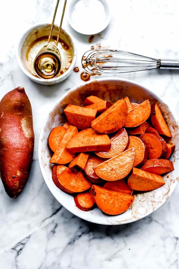 Maple Cinnamon Sweet Potatoes | foodiecrush.com