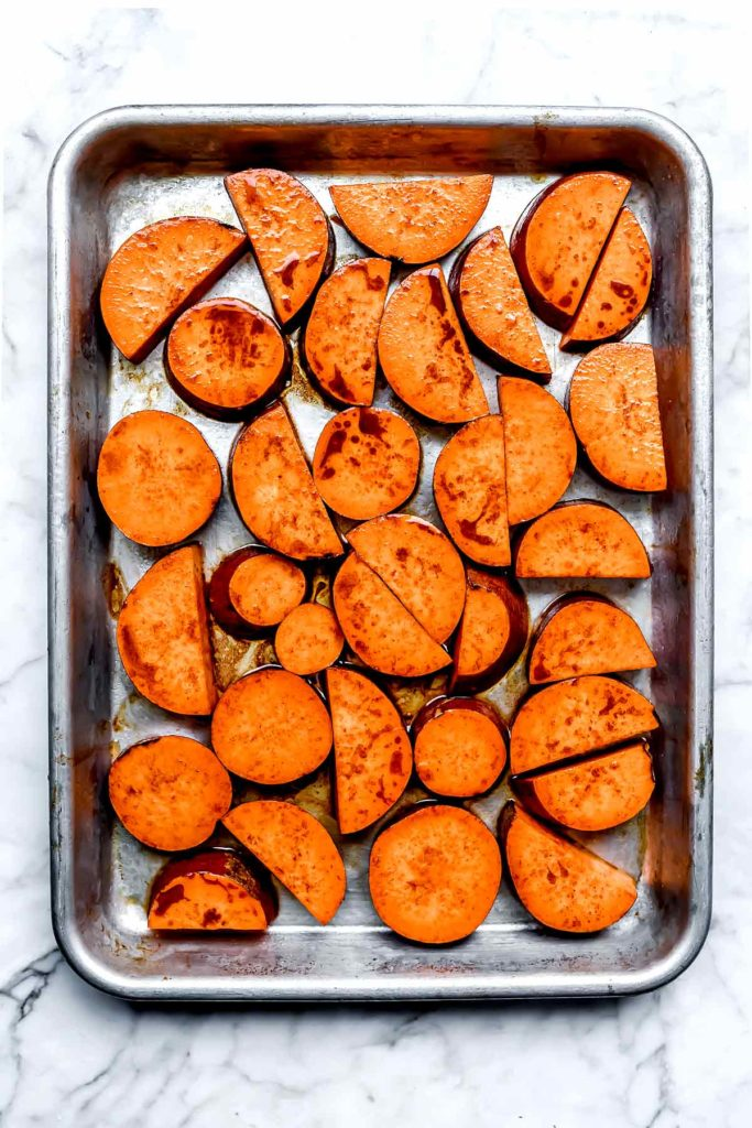Roasted Sweet Potatoes on a sheet pan | foodiecrush.com