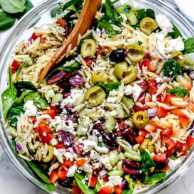 Mediterranean Orzo Salad foodiecrush.com #salad #orzo #olives #mediterannean #pasta #pastasalad #healthy #recipes