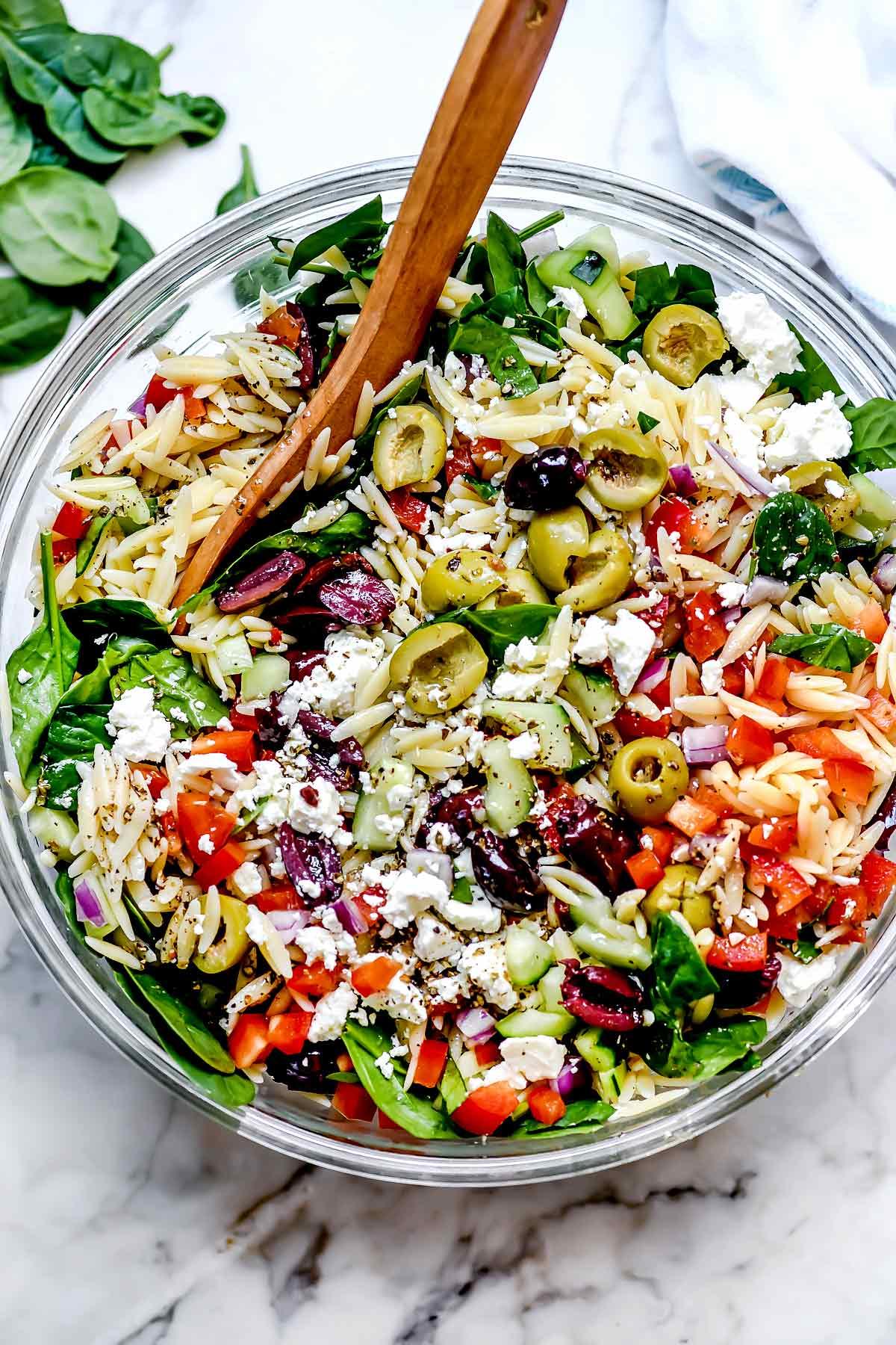 Mediterranean Orzo Salad foodiecrush.com #salad #orzo #olives #mediterannean #pasta #pastasalad #healthy #recipes