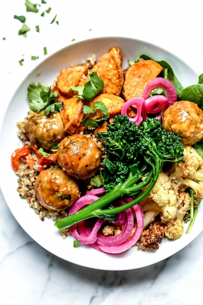 Buddha Bowls with Roasted Vegetables and Turkey Meatballs foodiecrush.com