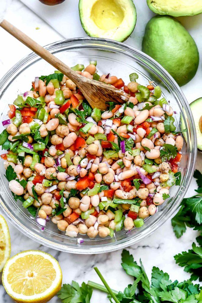 Mediterranean Chickpea Salad Stuffed Avocados | foodiecrush.com #avocados #mediterranean #salad #chickpeas