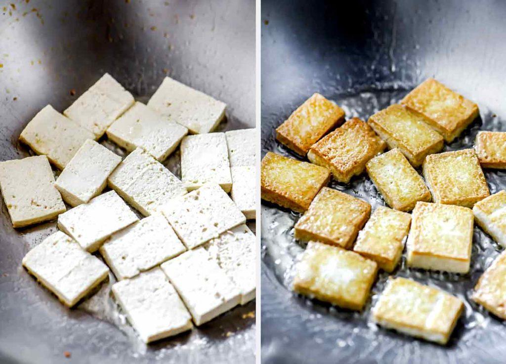 Tofu croustillant au wok ou à la poêle |  foodiecrush.com