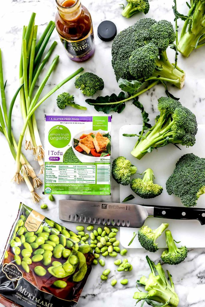 Teriyaki Tofu and Broccoli Stir Fry Ingredients | foodiecrush.com #broccoli #tofu #stirfry #dinner #recipes #healthy