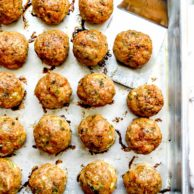 Baked Thai Turkey Meatballs | foodiecrush.com #turkey #meatballs #thai #curry #baked #healthy #homemade #easy #recipes