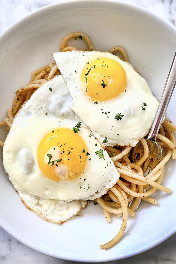 Fried Eggs and Cacio e Pepe foodiecrush.com