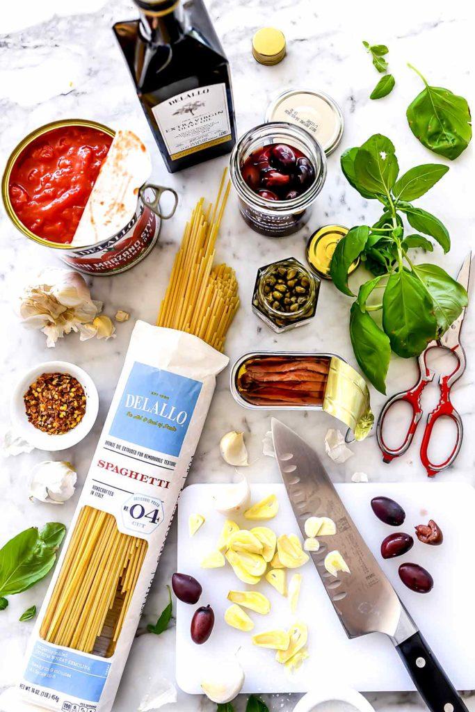 Ingredients Pasta Puttanesca | foodiecrush.com