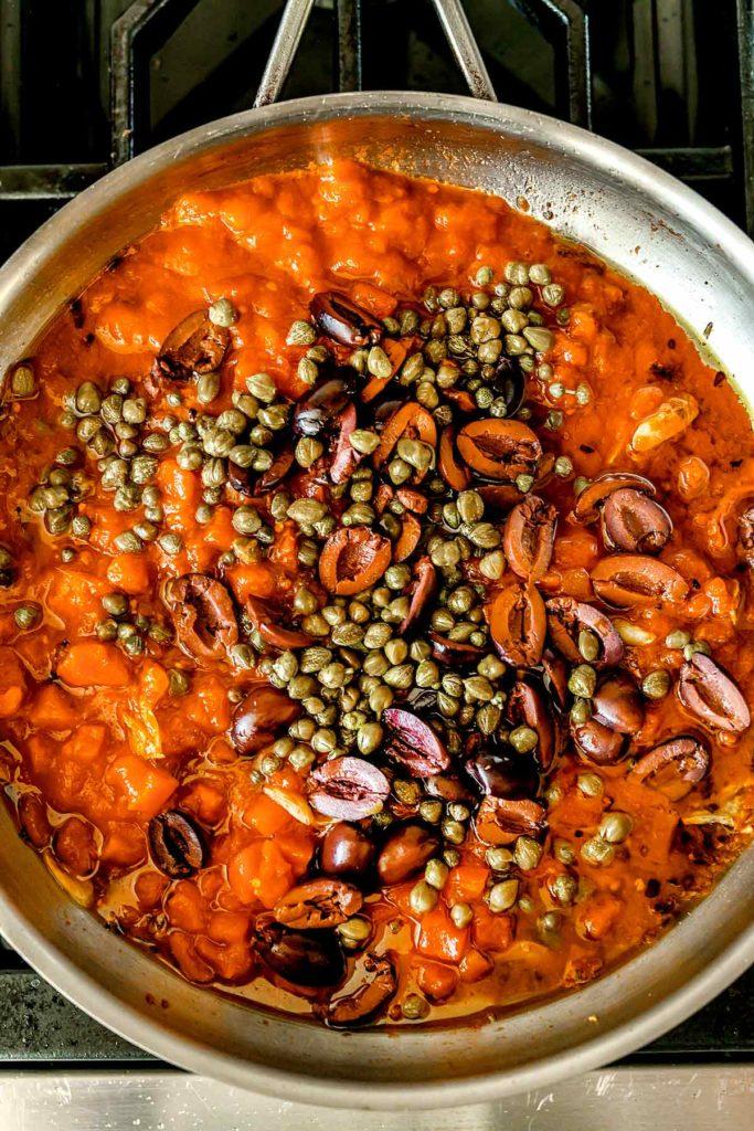 Ingredients Pasta Puttanesca Sauce | foodiecrush.com