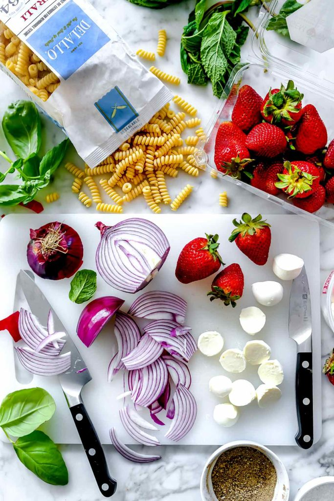 Ingredients Strawberry Caprese Pasta Salad | foodiecrush.co