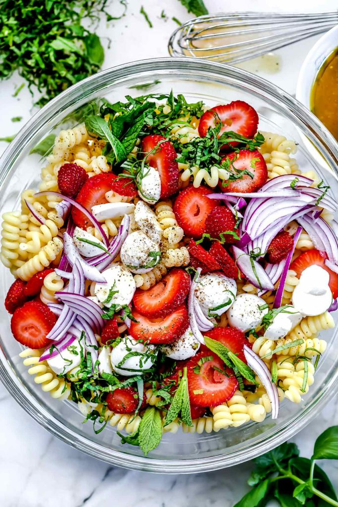 Strawberry Caprese Pasta Salad | foodiecrush.co