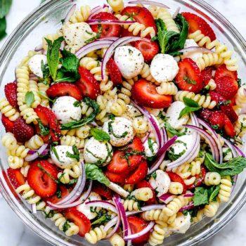 Strawberry Caprese Pasta Salad | foodiecrush.co