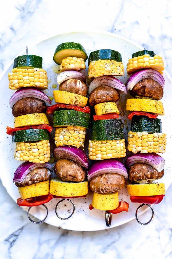 Grilled Vegetable Kebabs | foodiecrush.com
