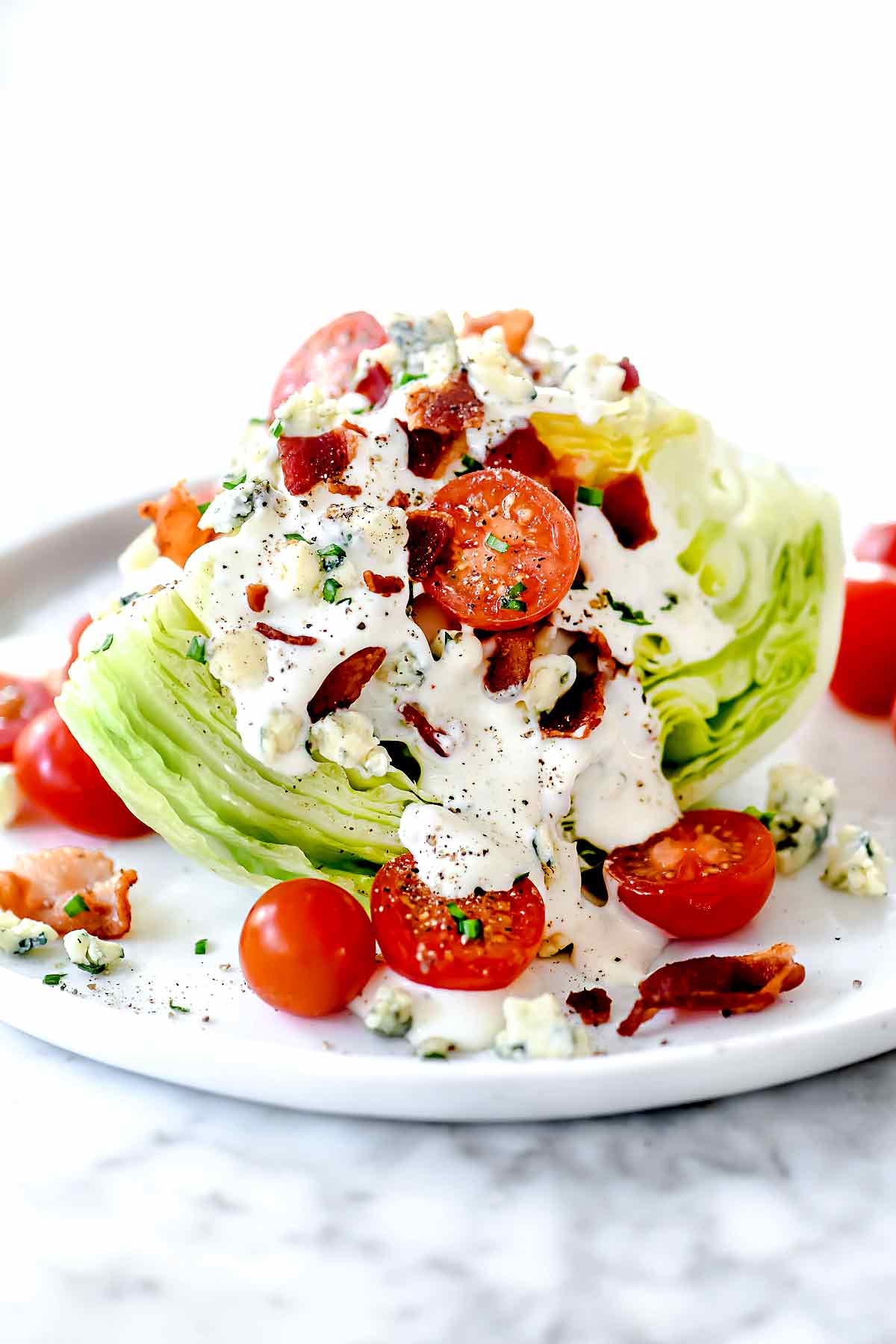 Classic Wedge Salad Homemade Blue Cheese Dressing Foodiecrush