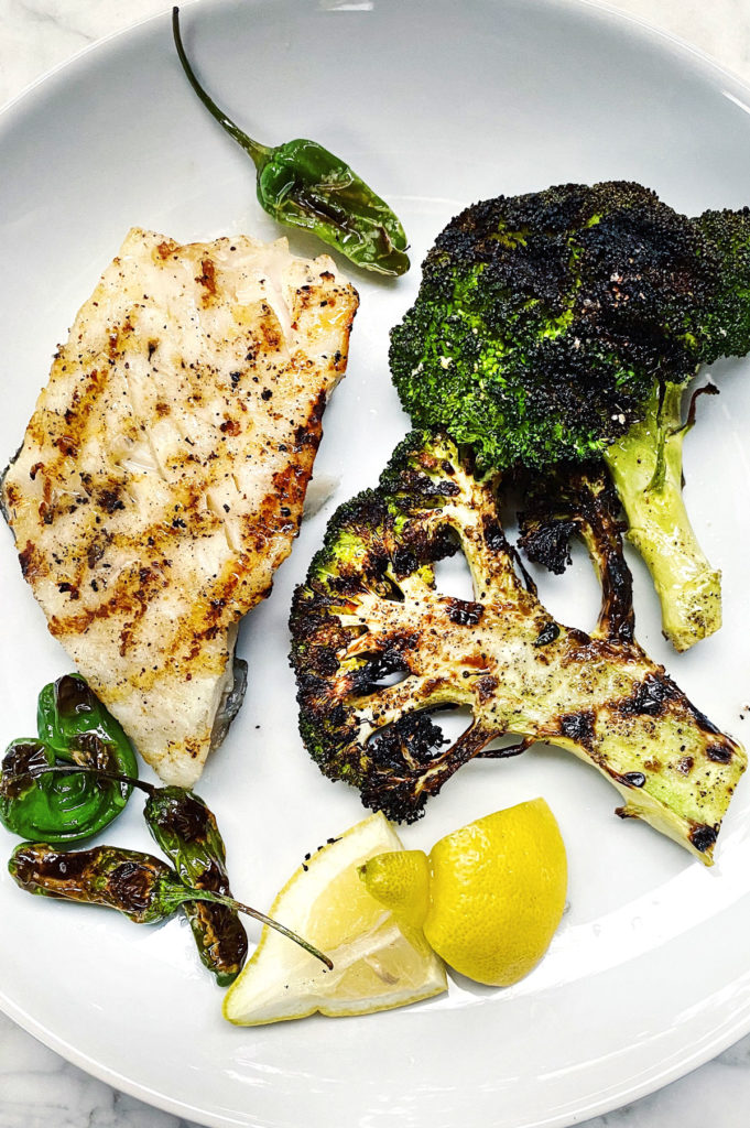 Grilled Halibut and Broccoli foodiecrush.com