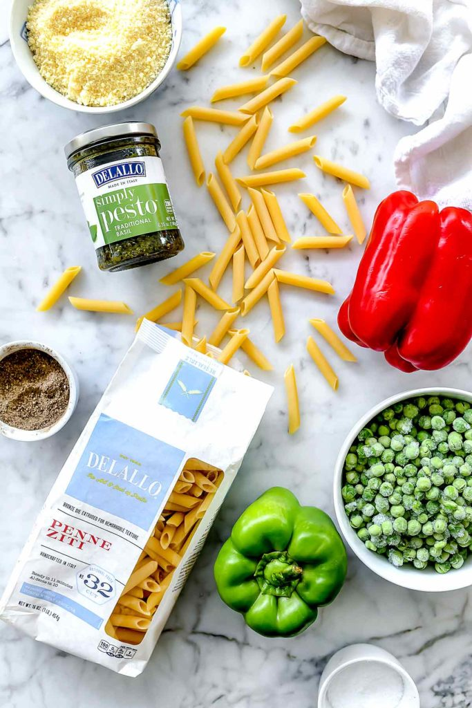 Ingredients Pesto Pasta Salad | foodiecrush.com