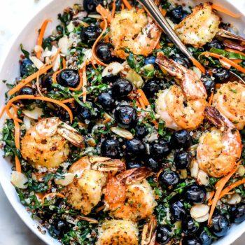 Kale Salad with Quinoa and Shrimp | foodiecrush.com
