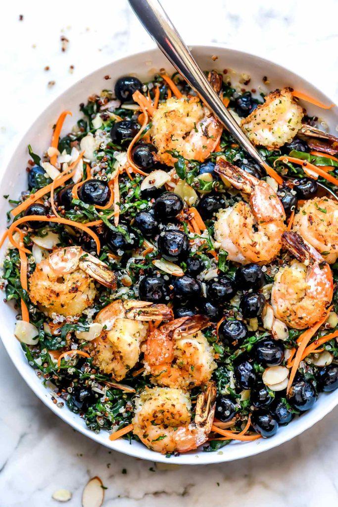 Kale Salad with Quinoa and Shrimp   foodiecrush.com