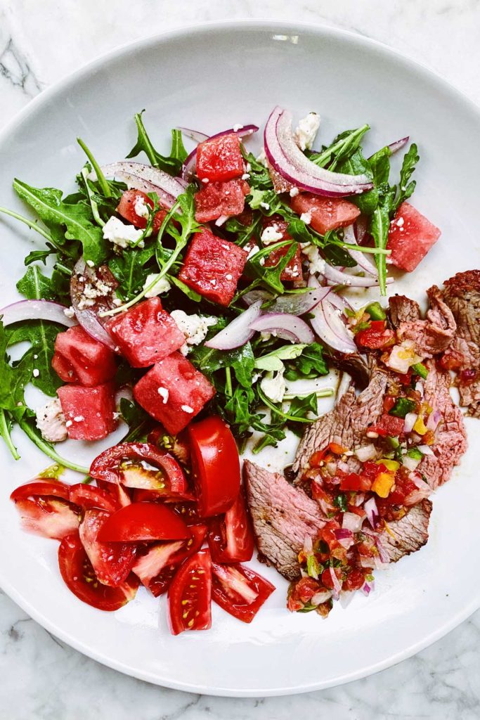 Grilled Steak With Watermelon and Feta Salad | foodiecrush.com