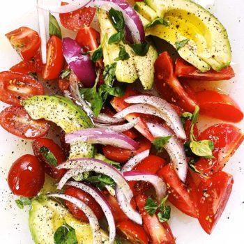 Tomato avocado salad foodiecrush.com
