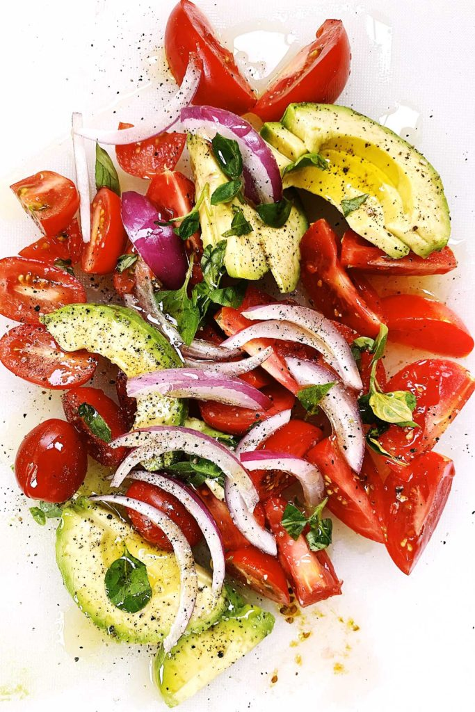 Tomato avocado salad foodiecrush.com