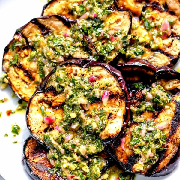Grilled Eggplant with Chimichurri | foodiecrush.com