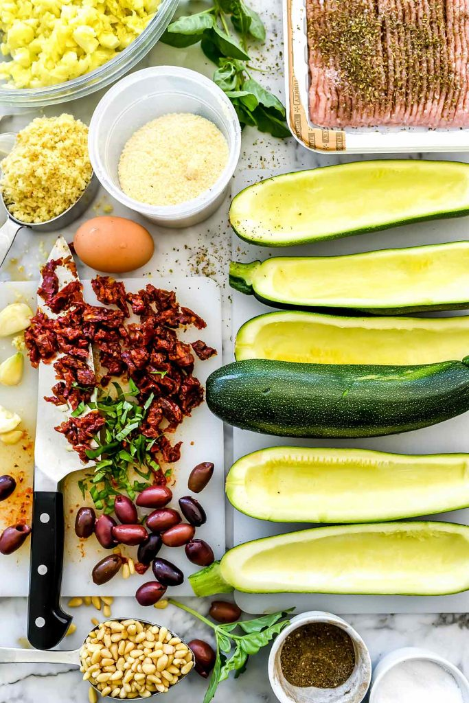 Mediterranean Zucchini Boats ingredients | foodiecrush.com