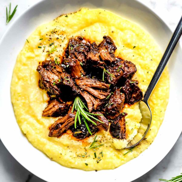 Tuscan Beef Stew Over Polenta | foodiecrush.com