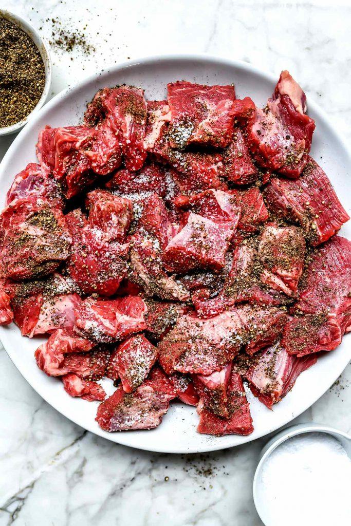 Beef cut into chunks | foodiecrush.com