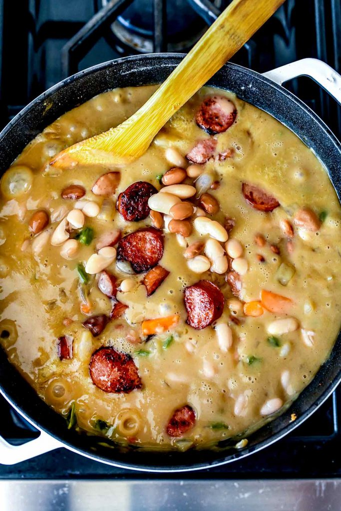 Creamy Bean Soup with Sausage | foodiecrush.com