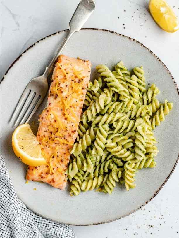 Honey Lemon Garlic Salmon from Ambitious Kitchen on foodiecrush.com