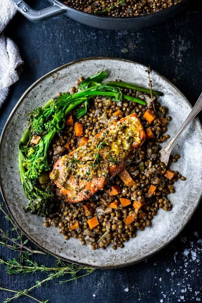 Salmon with Braised French Lentils from Feasting at Home on foodiecrush.com