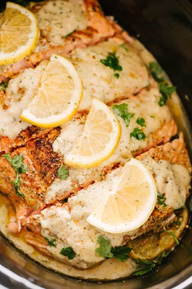 Slow Cooker Salmon from Diethood on foodiecrush.com