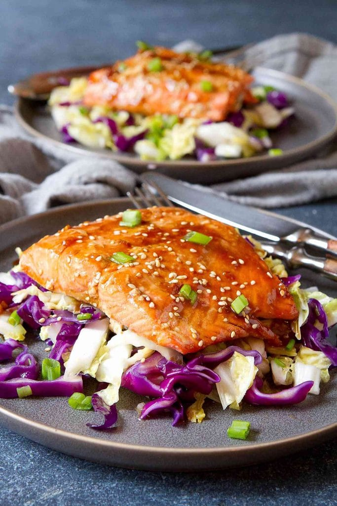 Baked Teriyaki Salmon with Cabbagefrom Cookin' Canuck on foodiecrush.com