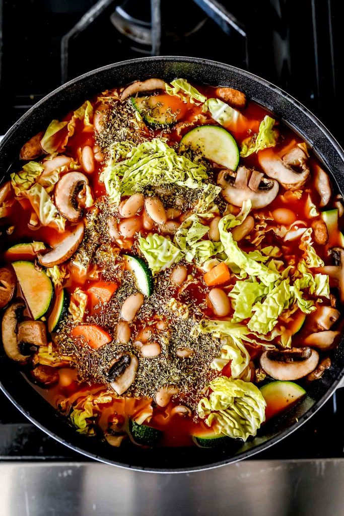 Weight Watchers Cabbage Soup in Pot on Stove | foodiecrush.com