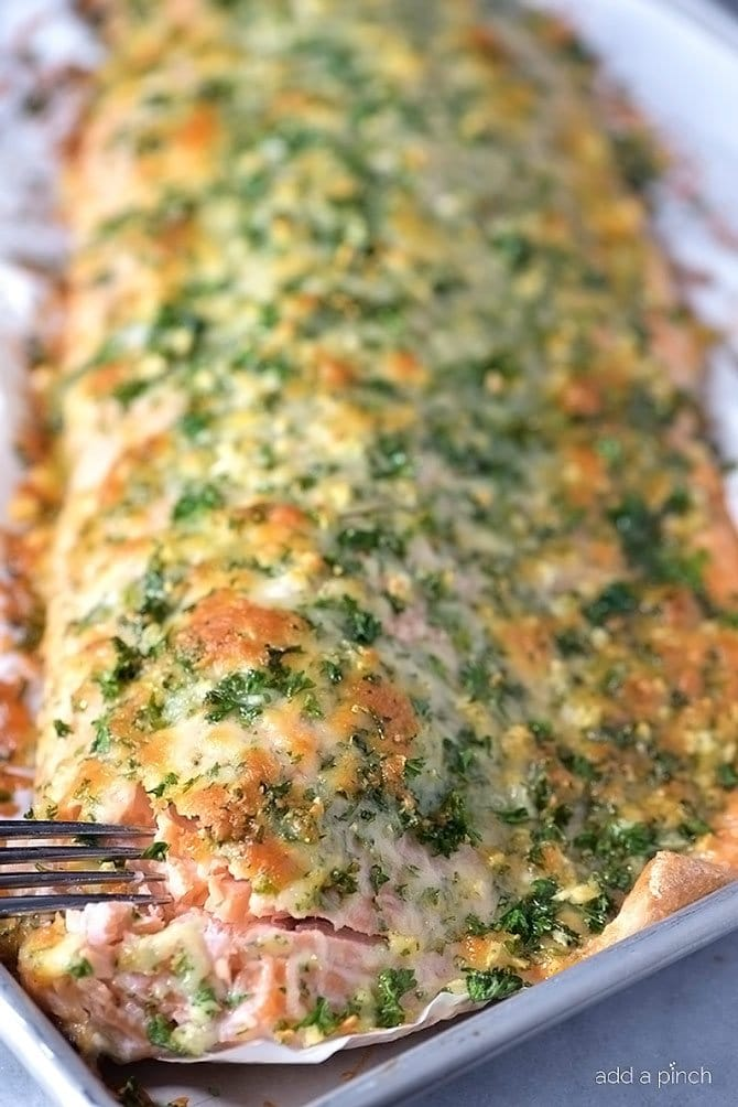 Baked Salmon with Parmesan Herb Crust from Add a Pinch on foodiecrush.com