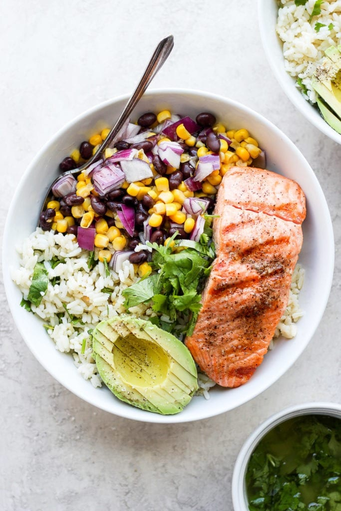 Fiesta Salmon Rice Bowls from Fit Foodie Finds on foodiecrush.com