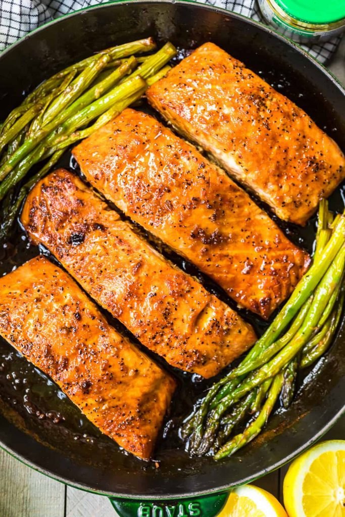 Honey Garlic Salmon and Asparagus from the Cookie Rookie on foodiecrush.com