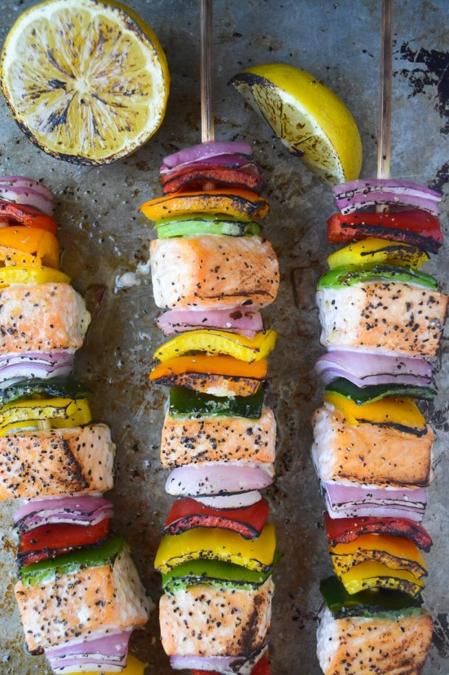 Rainbow Salmon Skewers from View from Great Island on foodiecrush.com