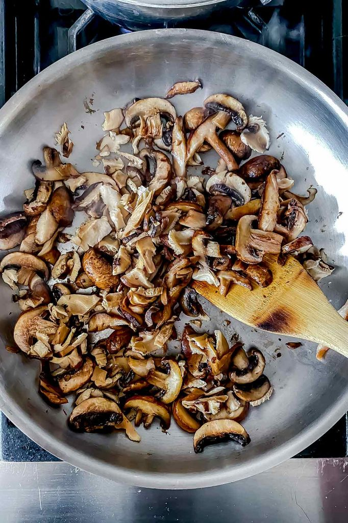 Sauteed mushrooms in pan | foodiecrush.com