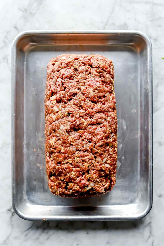 Meatloaf on baking sheet foodiecrush.com
