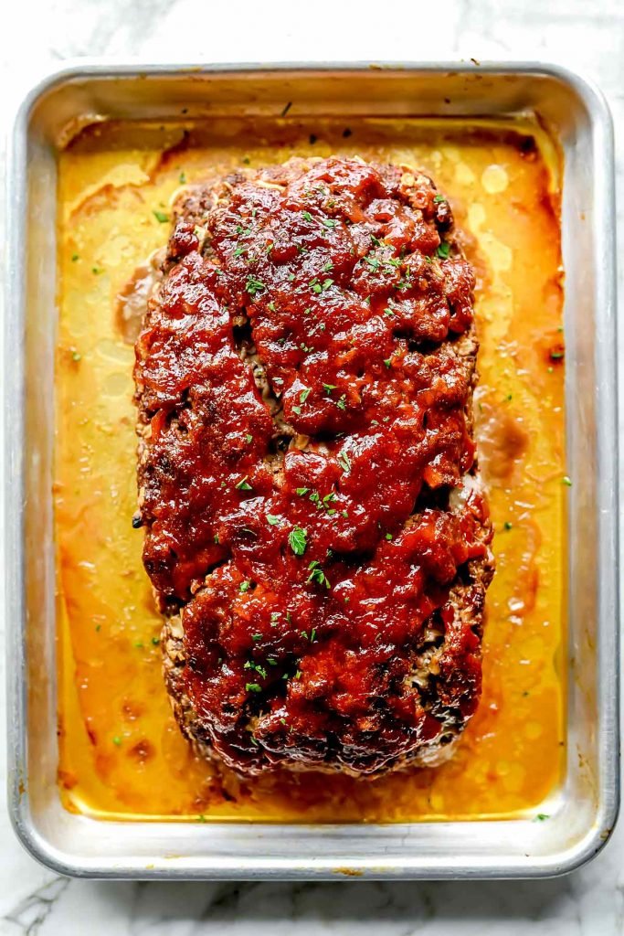 Meatloaf with Oats on baking sheet foodiecrush.com