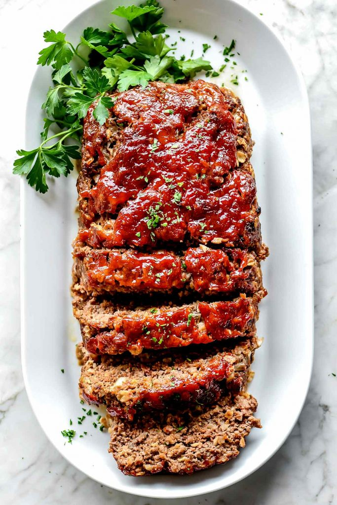 Classic Meatloaf Recipe with Oats on platter foodiecrush.com