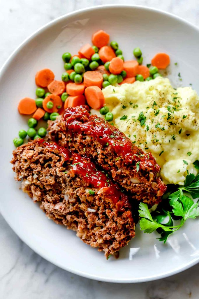 Meatloaf with Mashed Potatoes on plate | foodiecrush.com