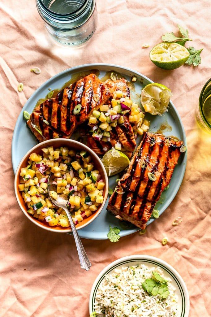 Teriyaki Salmon with Pineapple Salsa from Life Is But a Dish on foodiecrush.com