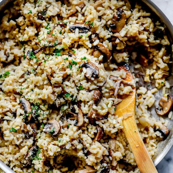 Mushroom Risotto in pan | foodiecrush.com