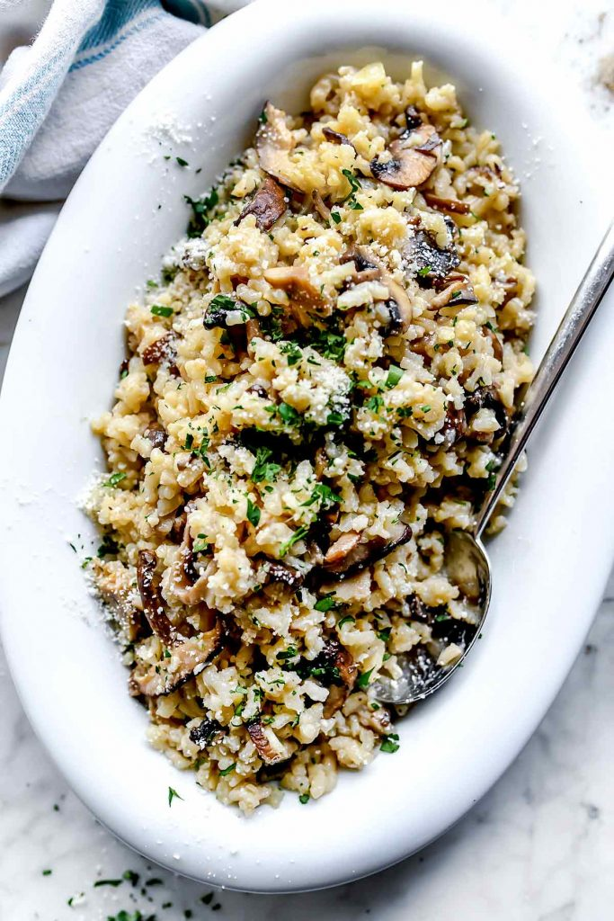 Dish of mushroom risotto | foodiecrush.com